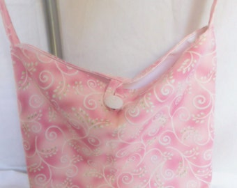 Shoulder/Crossbody Carry Purse/bags (Pink Swirls) Button enclosure, lined, with pocket