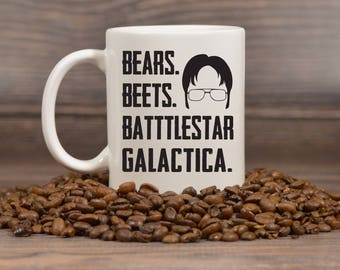 Bears Beets Battlestar Galactica, Dwight Schrute Mug, The Office TV Show Gifts, Funny Coffee Mug, White Elephant, Secret Santa Gift - 1154