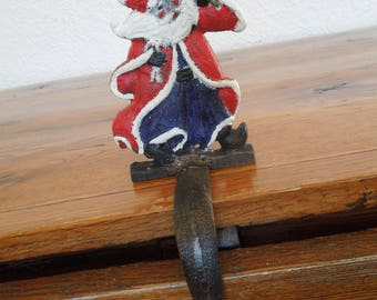 Vintage Cast Iron Christmas Stocking Holder Santa Claus with Tree Rustic