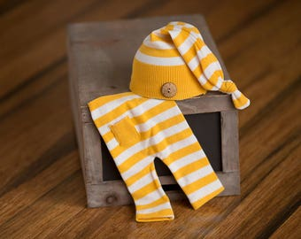 Newborn Hat & Pants Set, Yellow and White Striped Newborn Set, Newborn Outfit, Newborn Photography Prop, Newborn Photo Prop, Upcycled Hat