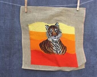 Vintage Tiger Needlepoint Kitty Cat Art // Unframed