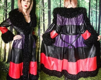 1970s Almost Famous Mongolian Lamb Trim Striped Leather Boho Glam Maxi Coat