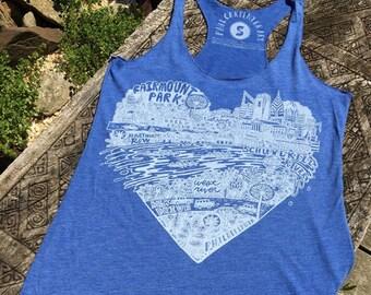 FREE SHIPPING - Fairmount Park / Schuylkill River -- Paul Carpenter Art -- Womens Philly Artist Print Racerback Tank Top