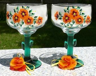Margarita Glasses Green Cactus Stems Hand Painted Orange Flowers Set of 2-16 oz. Summer Glasses, Retirement Gift, Bestie Gift, Wedding Gift