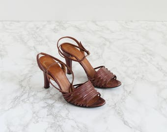 Vintage 1970s Dark Brown Strappy Sandals- 70s Ankle Strap Heels - Segovia Sandals