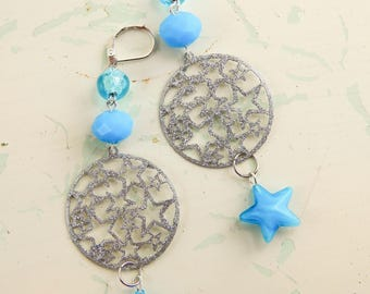Star assemblage earrings / blue stars / assemblage jewelry / upcycled / recycled beads / repurposed earrings / star earrings