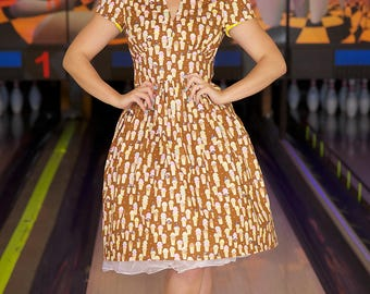 V Neck Ice Cream Dress,, Ice Cream Dress, Sleeved Dress, Ice Cream, Vintage Dress, Retro Dress, 1950s Dress, Ice Cream fabric