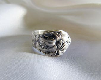 Columbine Flower Spoon Ring Sterling Rare Naturalistic Pattern Friendship Rings Two Available