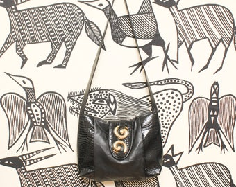 Black Vinyl Crossbody Bag // 90s Vegan Slouchy Faux Leather Croc Gold Detail Magnetic Clasp Shoulder Bag Glam