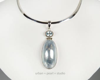 Blue Mabe Pearl Pendant Beach Wedding Bridesmaids Gift Nautilus Shell Blue Topaz Pendant