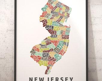 New Jersey Art Etsy - Map of nj