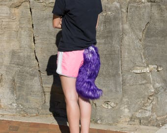 16 Inch Purple and White Wolf Animal Costume Tail