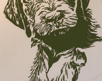 Puppy vinyl decal in green