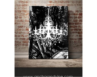 CANVAS // Black and White Chandelier  // Wall Decor, Canvas, Canvas Art, Home Decor, Print, Art Print, Poster, Canvas Art, Framed, Gift