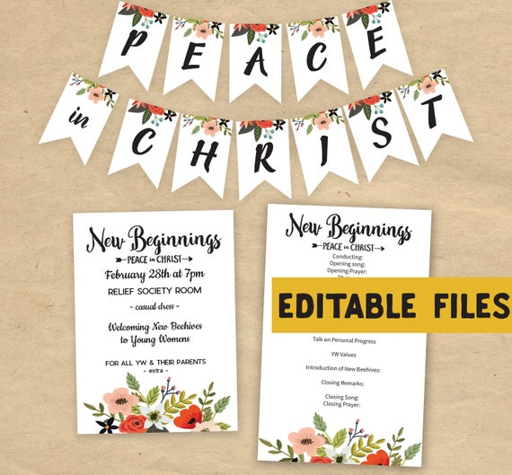 Editable new beginnings 2018 invitation program peace editable new beginnings 2018 invitation program peace in christ editable printable instant download banner young women stopboris Image collections