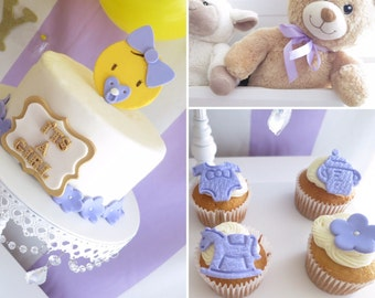 Teddy Bear and Baby shower cupcake toppers- any color Boy or girl