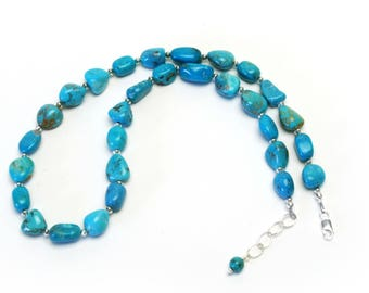 Genuine Turquoise and Sterling Silver Necklace   - 18 Inch Chunky Turquoise Necklace - Handmade Turquoise Jewelry