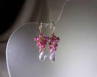 Pink amethyst briolette pink tourmaline earrings 1 3/8 inch 14k gold filled gemstone handmade item 606