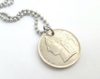 1958 Coin Necklace  - Stainless Steel Ball Chain or Key-chain - 5 Belgie