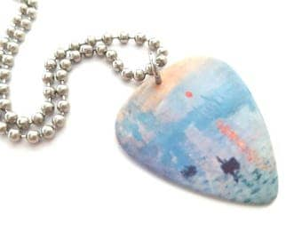 Monet Guitar Pick Necklace with Stainless Steel Ball Chain - artist - Claude Monet - French artist