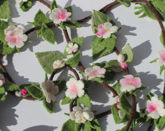 Apple blossom garland and 3 small red apples felted as a living decoration or for the season table
