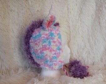 Warm, fluffy, unique, unicorn hat