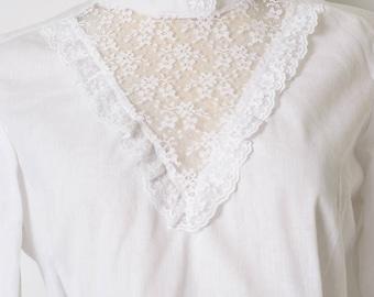 vintage top, Vintage Victorian Top, Vintage white Top,Vintage Lace top, Vintage sheer top, white lace top, Sheer white blouse,  - S/M