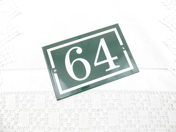 Large Unused Vintage French Enamel House Number 64 in Green and White, New Old Stock Enamelware Street Sign, Old Address Plaque