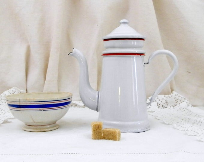 Small Antique French Goose Neck White Enamelware Coffee Pot / Cafetière, Child's Enamel Toy from France, Country Cottage Kitchen Decor,