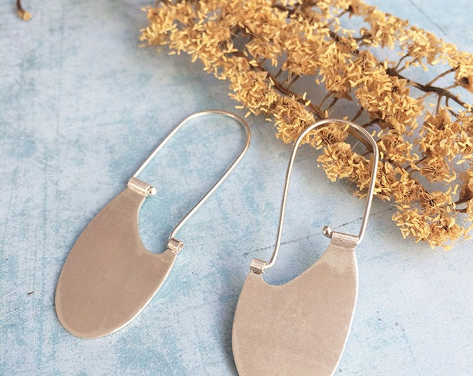 Sterling silver hook earrings - tribal earrings - dangle and drop - oval ethnic earrings - geometric earrings