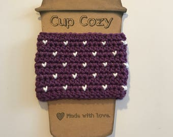 Crochet Cup Cozy/Coffee Sleeve/Tea Sleeve/Valentines Day/Heart Cozy/Purple/White/Tiny Hearts/Reusable