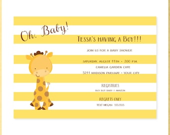Oh, Baby Giraffe Baby Shower Invitation