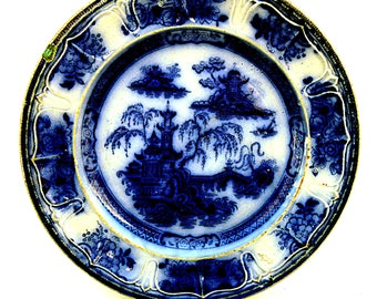 "Flow Blue Plate Pelew Pattern E. Challindor English Ironstone 10"" Plate Oriental Dark Flow Blue"