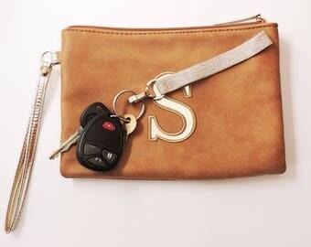 Wrist Strap for Keys Wrist Strap Keychain Beige Silver Key Fob Metallic Sparkly Wrist Strap Key Chain Wristlet Elastic Keychain Gift for Her