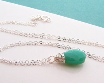 Green Chrysoprase Gemstone Necklace - Dainty Drop Necklace - Sterling Silver Necklace - Briolette Necklace - Gift for Her