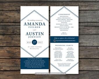 Modern Wedding Program Ceremony Bridal Party Art Deco Invitation