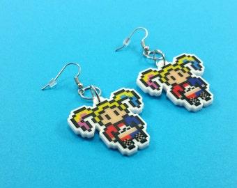 Harley Quinn Earrings - Comic Book Earrings - Harley Quinn Jewelry - Harley Quinn Cosplay - Harley Quinn Wedding - Nerdy Earrings
