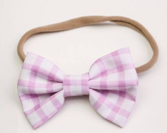 Newborn Bows, Valentines Bows,  Violet Gingham, Mini Bows, Fabric Bows, Hair Accessories, Bow Clip, Soft Headbands, Pink Bow