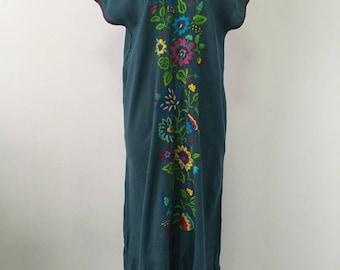 Hand Embroidered Dress Cotton Long Dress, Maxi Dress, Beach Dress, Mexican Dress