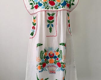 Embroidered Mexican Dress Cotton Sleeveless Dress In White, Boho Dress, Hippie Dress