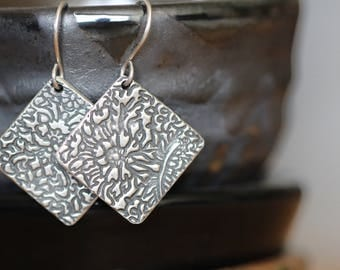 Sterling Silver Earrings, Botanical, Dangle Earrings, PMC Earrings, Floral, Rustic, Boho, by Mossy Creek