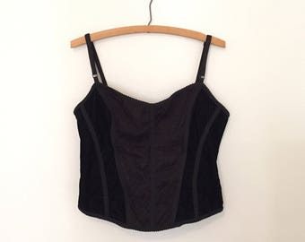 Black Velvet Corset Top with Lace Panel - 1990s