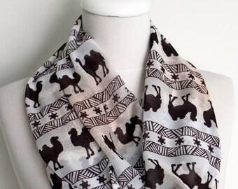 Ethnic Camel Infinity scarf Circle scarf Loop scarf Scarves Shawls spring - fall - winter - summer fashion