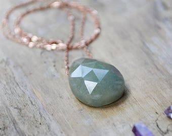 aquamarine necklace /// dark blue-green faceted aquamarine, layering gemstone necklace /// march birthstone