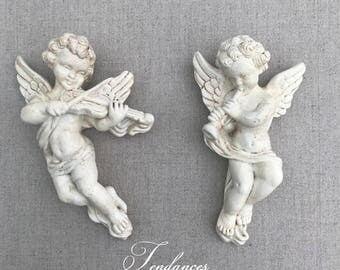 2 Angels playing music in plaster white Skate 17 X 10 CM