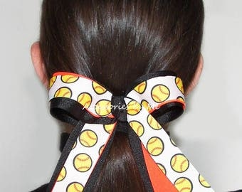 Softball Hair Bow, Softball Ribbon Ponytail Elastics Ties, Softball Bows Wholesale For Sale, Softball Team Color Streamers, Bulk Price Cheap
