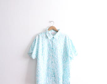 Teal Shapes 90s Button Down Shirt