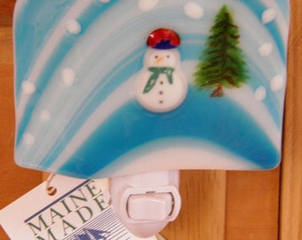 Snowman and Tree Fused Glass Night Light