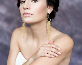 Fringe Bridal Earrings, Gold Statement Earrings, Long Modern Wedding Earrings, Alternative Bridal Jewelry, Gold Chain Fringe Earrings, ORA
