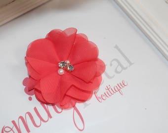 Bright Coral Chiffon Rhinestone/Pearl Flower Clip
